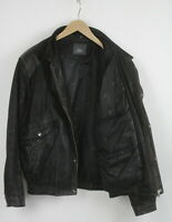 JOFAMA Men's (EU) 54 or ~X LARGE Soft Black Leather Bomber Biker Jacket 23307-JS