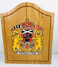 Vintage Knight of Arms Wooden Dart Board Cabinet Dartboard Darts Baseball