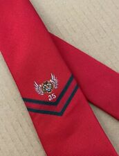 "GUCCI Slim Tie Red ""Tiger Wings"" 25 Chevron Stripe 100% Silk Made in Italy NWT"
