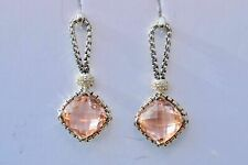 David Yurman Sterling Silver Morganite Cushion on Point Diamond Earrings