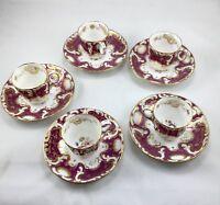 Antique Davenport Set Of Porcelain Demi Tasse Coffee Cups & Saucers (5 Pcs.each)