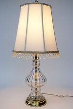 24% POLISH Lead Cut Glass Table Lamp Crystal Clear HEAVY