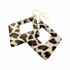 New - 6.5cm Drop Brown Tone Leopard Print Triangle Shape Fashion Earring