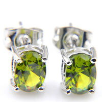 Hot Sale Jewelry Gift Oval Olive Peridot Gemstone Silver Stud Hook Earrings