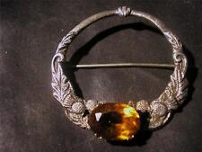 Fabulous Vintage Scottish Robert Allison Solid Silver & Citrine Brooch,Glas1949
