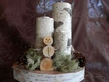 Christmas Holiday Birch Log Snowman TeaLight CenterPiece,Bark,home decor,candle