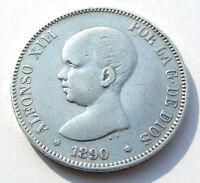 5 PTAS PESETAS 1890 900 SILBER SILVER PLATA MÜNZE SPANIEN ALFONSO XIII POR LA G.