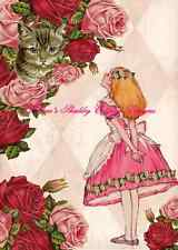 Sweet Altered Art Alice In Wonderland w Cheshire Cat & Roses 8x10 Fabric Block
