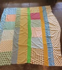 "Vintage Quilt Top Hand Stitched Cotton Polyester Pajama Sheet Fabric 68"" x 78"""