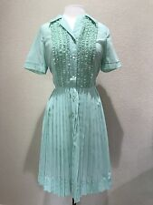 True Vtg 1950's 50's Palm Fashions Light Blue Collared Button Front Day Dress