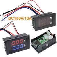 DC 0-100V 10A 3/4 Bit Voltmeter Ammeter Red Blue LED Amp Wires-u