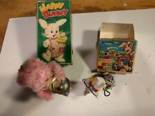 Vintage Wind Up Toy Rabbit on Bike Happy Bunny Drummer Japan Fuji Press Kogyosho
