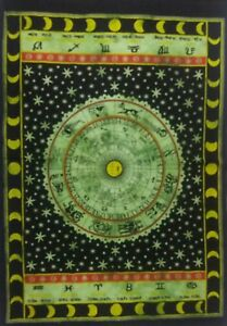 Zodiac Sign Horoscope Yoga Mat Wall Table Cloth Indian Cotton Poster 30X40 Inch