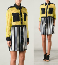 Emanuel Ungaro Yellow Black Chiffon Shirt Dress sz US M/ IT 44  $1607  Italy