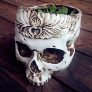 Resin Gothic Skull Head Flower Pot Planter Container Home Bar Ornament Decor