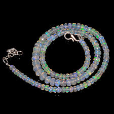 "58CRTS 4to7MM 18"" ETHIOPIAN OPAL FACETED RONDELLE BEADS NECKLACE OBI2116"