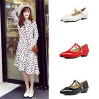 Women's T-strap Pumps Pointed Toe Sandals Solid Color Casual Low Heel Shoes