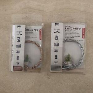 Kikkerland Magnetic Cable Photo Holder 1 Copper Color & 1 Silver Color New