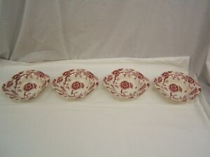 Lot of 4 Pink Tradition Lugged Cereal Bowls by Royal China (USA)  VGC