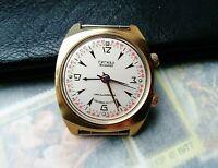 POLJOT Alarm Vintage Wristwatch Signal cal. 2612.1 Gold Plated Soviet  Watch