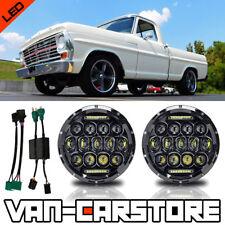 "DOT 7"" 150W LED Black Headlamps +9007-H4 Adapter 1969-179 Ford F100 Headlights"