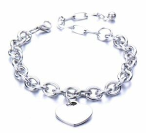 Ladies Womens Silver Stainless Steel Chain Bracelet With Heart Charm Brand New