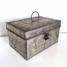 Vintage Tin Lunch Box Tinsmith Handmade Latch Hinges Trinketbox Junkbox