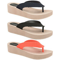 DUNLOP WOMENS FLIP FLOPS PLATFORM WEDGE HEEL SANDALS BEACH POOL TOE POST SHOES
