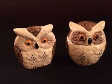 Vintage Enesco Japan Owl Covered Sugar And Napkins/Letters/Papers Holder Set
