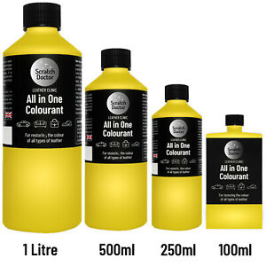 ALL IN ONE YELLOW Leather Colourant. Repair & Recolour. Dye Stain Paint Colour
