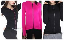 Womens Training Seamless Stretch Jacket with Hood Long Sleeve Fast drying Fabric