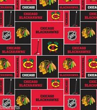 NHL HOCKEY CHICAGO BLACKHAWKS PATCHWORK FLEECE FABRIC MATERIAL BY 1/2 YARD CRAFT