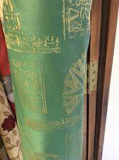 10m Green Cream Silky Egyptian Jacquard Curtain Fabric FREE POSTAGE