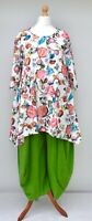 "PLUS SIZE STUNNING FLORAL A-LINE TUNIC*WHITE*BY AKH GERMANY BUST UP TO 52""XL-XXL"