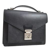 LOUIS VUITTON MONCEAU 2WAY HAND BAG SATCHEL BLACK EPI M52122 AK31906c