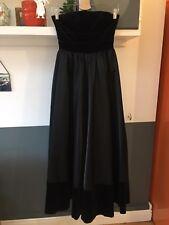Ladies Size 6 8 Petite Vintage Ball Gown Long Floor Legnth Dress Black Velvet.
