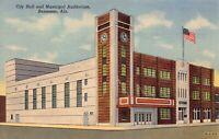 Linen Postcard City Hall and Municipal Auditorium in Bessemer, Alabama~128973