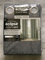"""Eclipse Absolute Zero Total Blackout  84"""" Curtains Max Grey Color 2 Panels NEW"""
