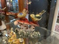 Pair Of Pottery Birds On Mushrooms