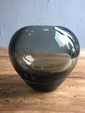 Heavy Grey Glass Vase Per Lutken Holmegaard MCM Modernist