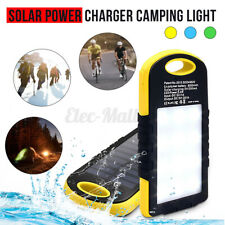 Portable Waterproof Solar Power Bank Phone Dual USB Charger Camping Work Light