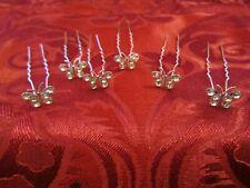 6 DIAMANTE CRYSTAL SILVER BUTTERFLY HAIR PINS HAIRPINS RHINESTONE WEDDING