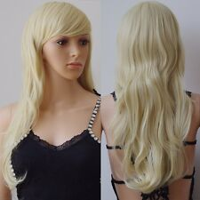 Fashion 58cm long Wavy Synthetic Cosplay Wig Costume Party Full Wigs Black Brown