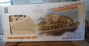 New! V-Express Steam Train with Tender  UGEARS - 3D Mechanical Puzzle