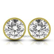 0.58ctw E-SI2 Ex Round Natural Diamonds 14k Bezel Set Modern Style Earrings 0.9g