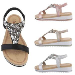Scarpe da donna sandali eleganti ecopelle laminati estivi zeppa bassa strass