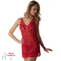 HELENA Nuisette et string en maille et dentelle coloris rouge Skys Lingerie