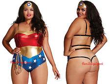 Plus Size WONDER WOMAN SUPER HERO TEDDY Open Strappy BACKSIDE Queen