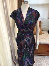 Suzi Chin Maggy Boutique Mod Diagonal Geometric Colorful Surplice Dress 14W Nice