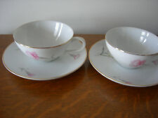 Lot of Two Royal Court Fine China Pink Carnation Cups and Saucers-Japan EUC